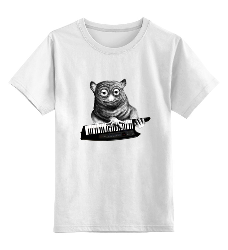 Детская футболка классическая унисекс Printio Лемур с синтезатором