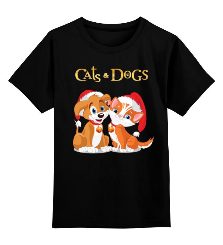 Детская футболка классическая унисекс Printio Кот и пес цена и фото