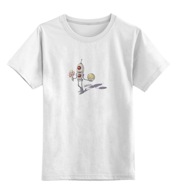 Детская футболка классическая унисекс Printio Веселый робот  цветочками happy everyday