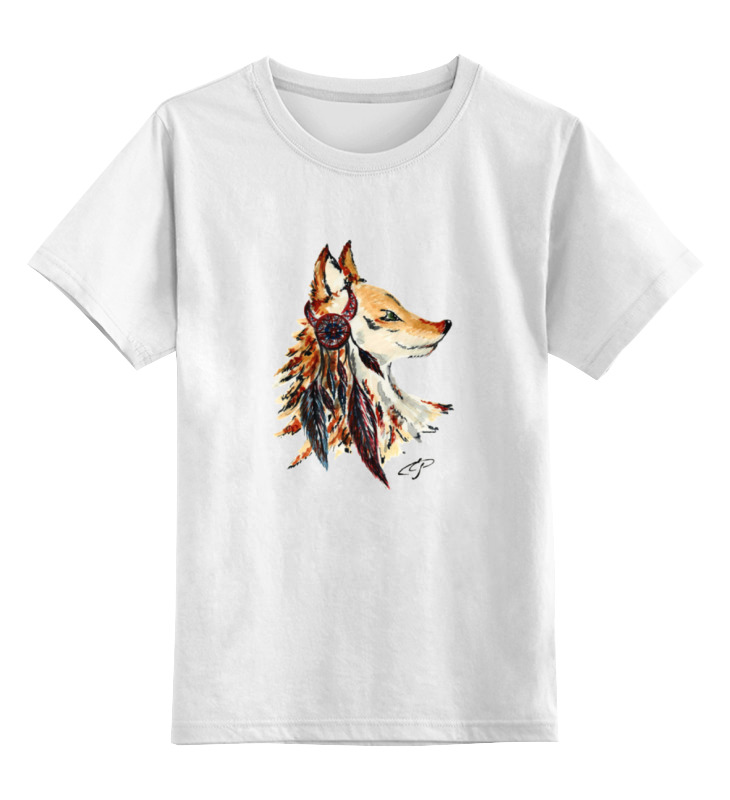 Детская футболка классическая унисекс Printio Лиса индеец цена и фото
