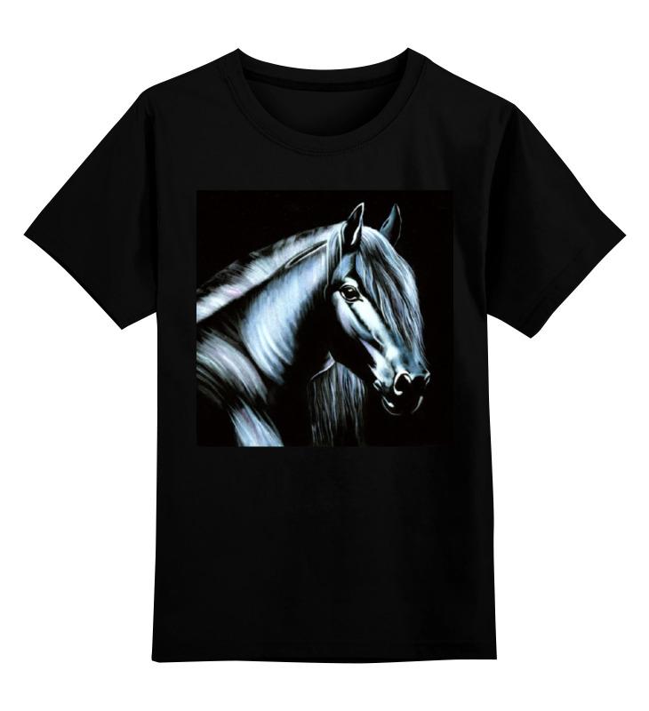 Детская футболка классическая унисекс Printio Лошадь на черном бархате