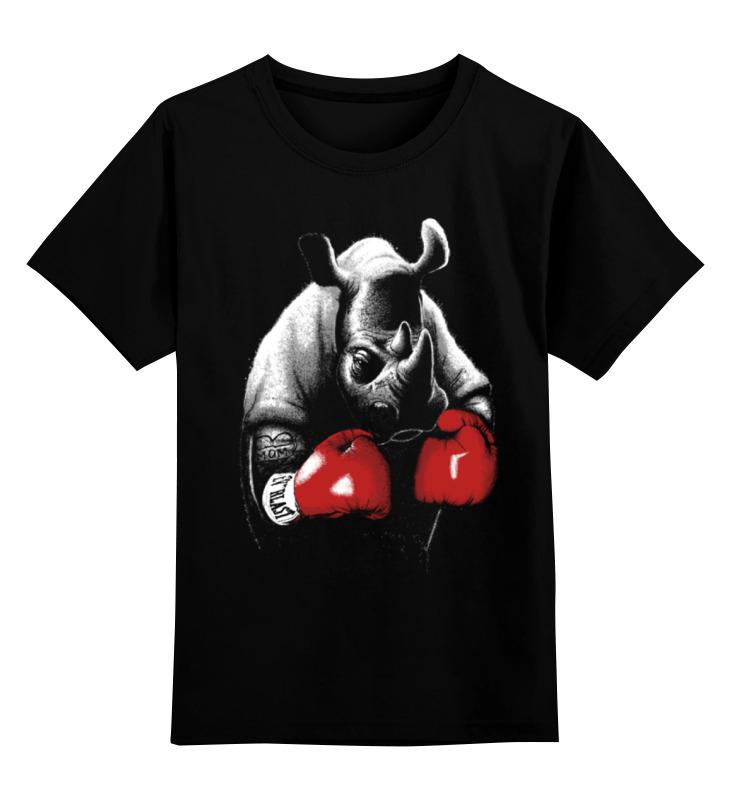 Детская футболка классическая унисекс Printio Носорог боксёр