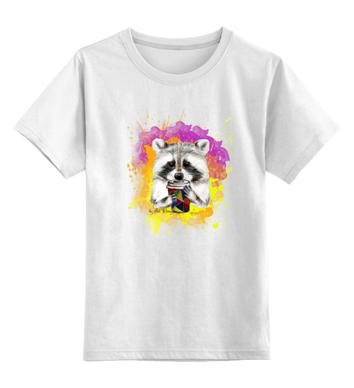 Детская футболка классическая унисекс Printio Радужный енот шапка классическая унисекс printio енот стилизация