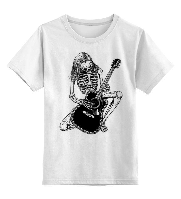 Детская футболка классическая унисекс Printio Скелет с гитарой