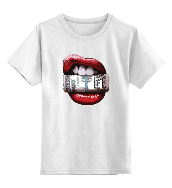 Детская футболка классическая унисекс Printio Губы и деньги