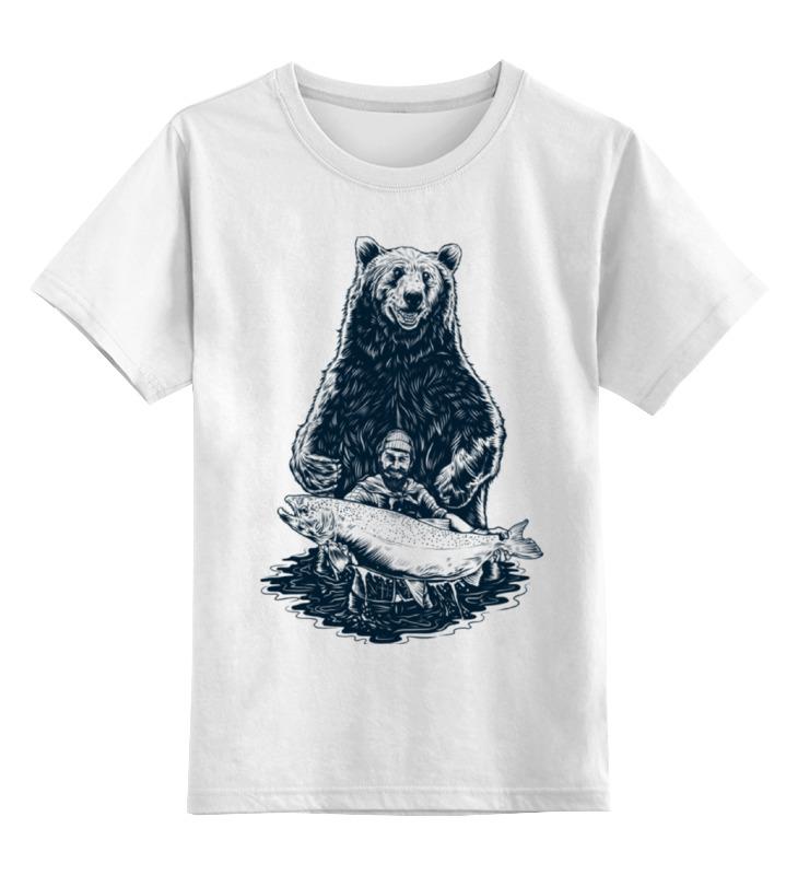 Детская футболка классическая унисекс Printio Медвежья рыбалка цена и фото