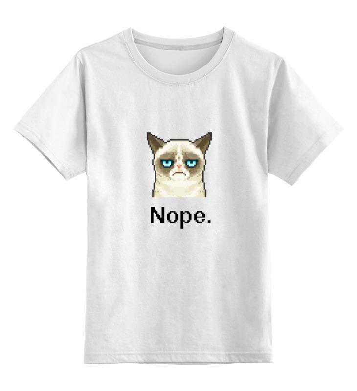 Детская футболка классическая унисекс Printio Сердитый котик / grumpy cat (пиксельный)