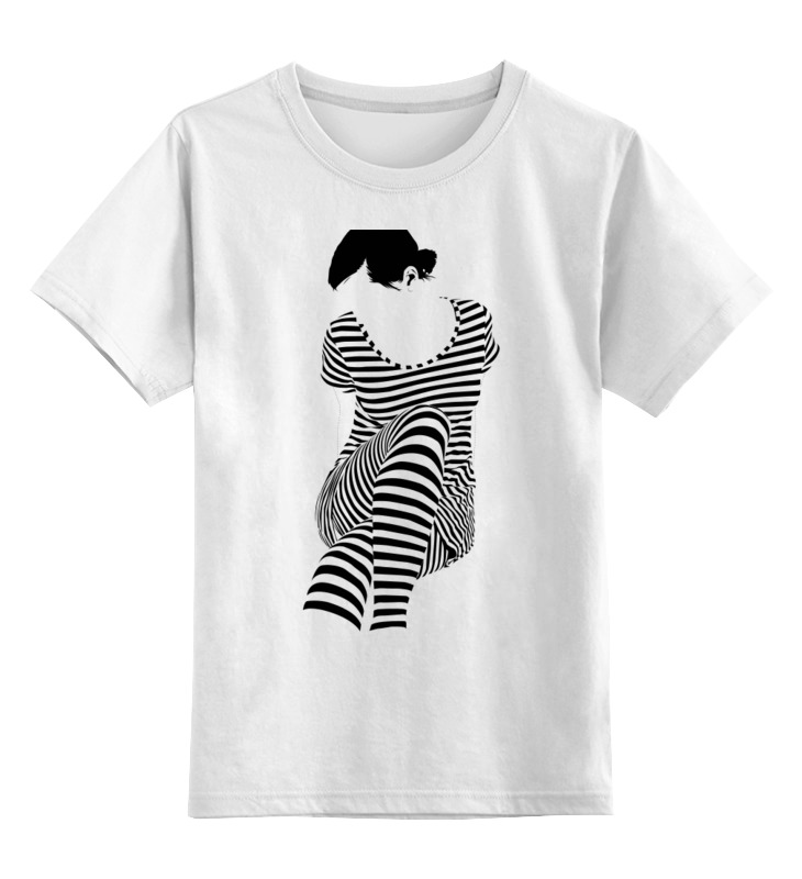 Детская футболка классическая унисекс Printio Белая,стильная,с рисунком,чайки,полосатая девушка футболка wearcraft premium slim fit printio белая стильная с рисунком чайки полосатая девушка