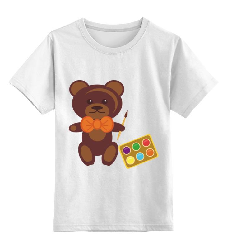 Детская футболка классическая унисекс Printio Медвежонок-художник