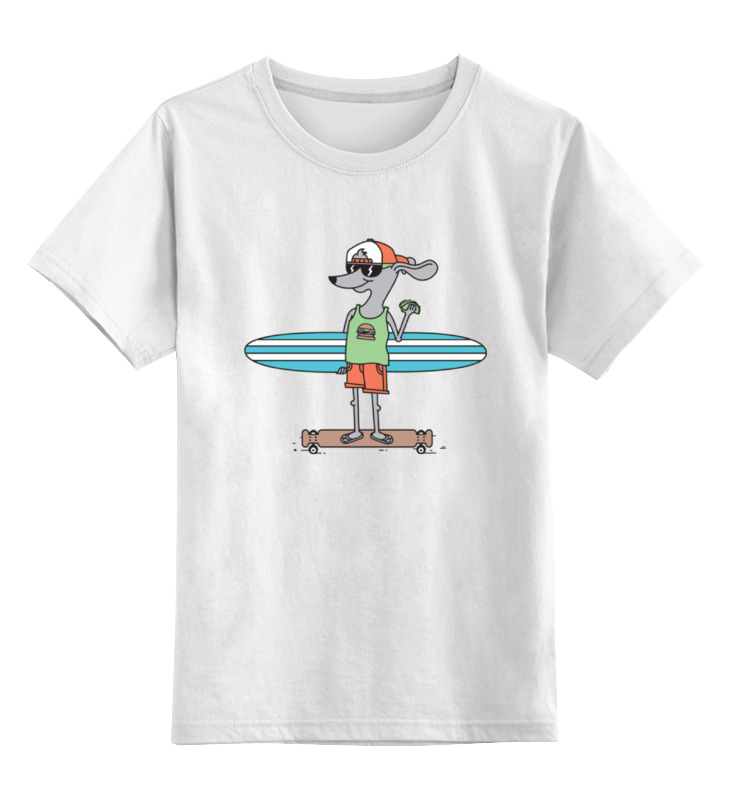 Детская футболка классическая унисекс Printio Пес на доске цена и фото