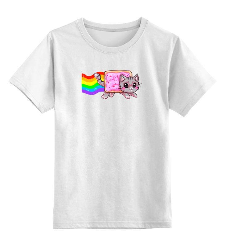 Детская футболка классическая унисекс Printio Кот и радуга цена и фото