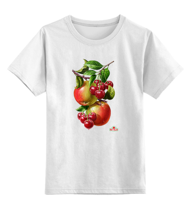 Детская футболка классическая унисекс Printio Яблочки, вишенки