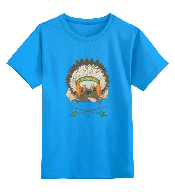 Детская футболка классическая унисекс Printio Мопс-индеец цена и фото