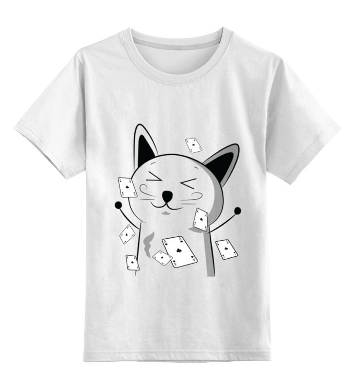 Детская футболка классическая унисекс Printio Счастливый котэ с картами детская футболка классическая унисекс printio игральные карты