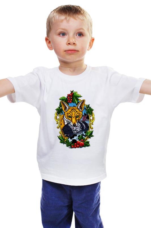 Детская футболка классическая унисекс Printio Лиса с голубем