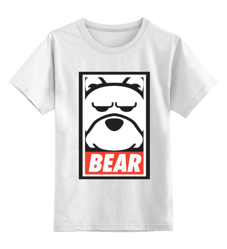 Детская футболка классическая унисекс Printio Мишка (bear, obey) детская футболка классическая унисекс printio starbucks obey