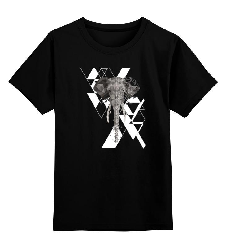 Детская футболка классическая унисекс Printio Геометрический слон все цены