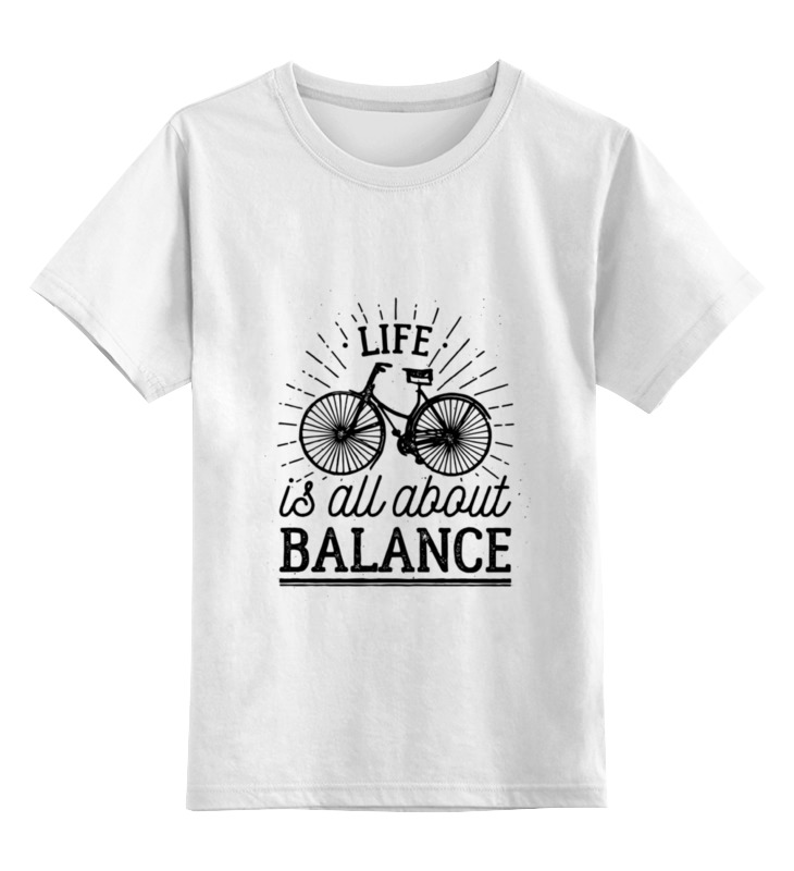 Детская футболка классическая унисекс Printio Life is all about balance! lucky peach all about eggs