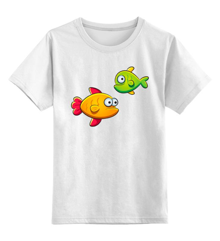 Детская футболка классическая унисекс Printio Две морские рыбки: желтая и зеленая зеленая футболка