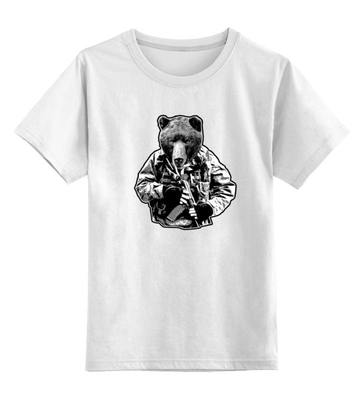 Детская футболка классическая унисекс Printio Медведь солдат футболка рингер printio медведь солдат