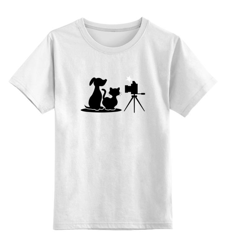 Детская футболка классическая унисекс Printio Пёс и кот цена и фото