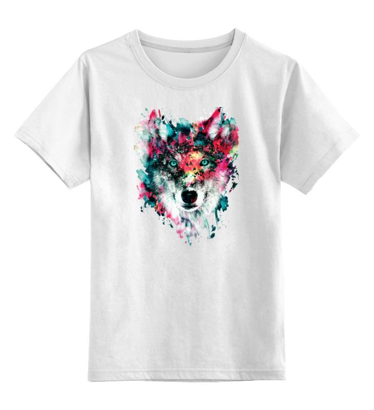 Детская футболка классическая унисекс Printio Волк (абстракция)