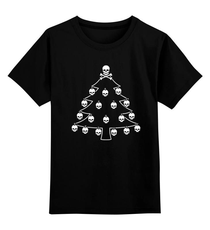 Детская футболка классическая унисекс Printio Новый год. ёлка с черепами.