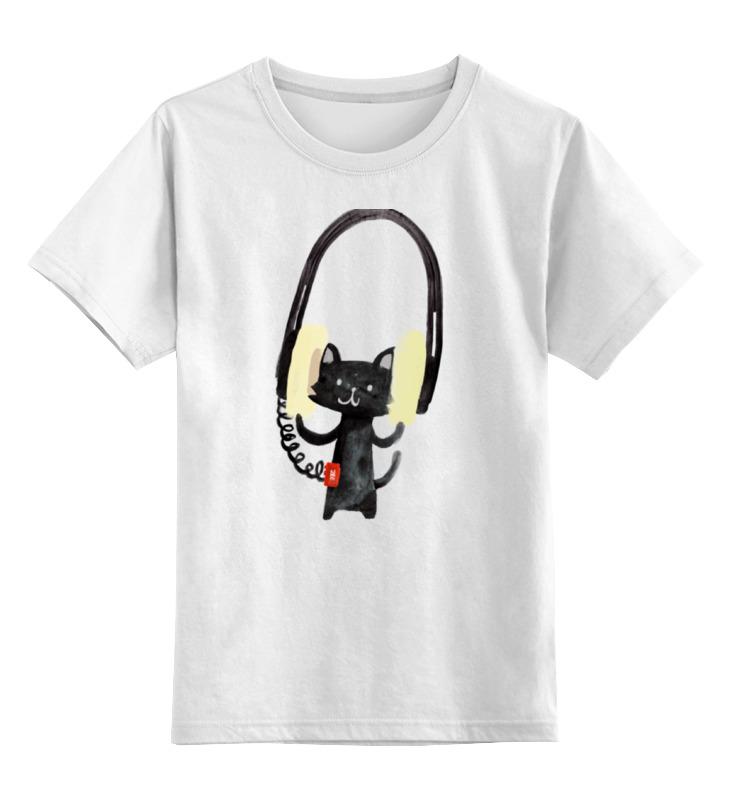 Детская футболка классическая унисекс Printio Кот в наушниках