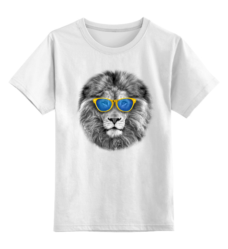 Детская футболка классическая унисекс Printio Стильный лев в золотых очках