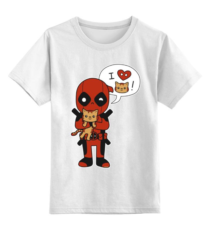 Детская футболка классическая унисекс Printio Дэдпул с котиком