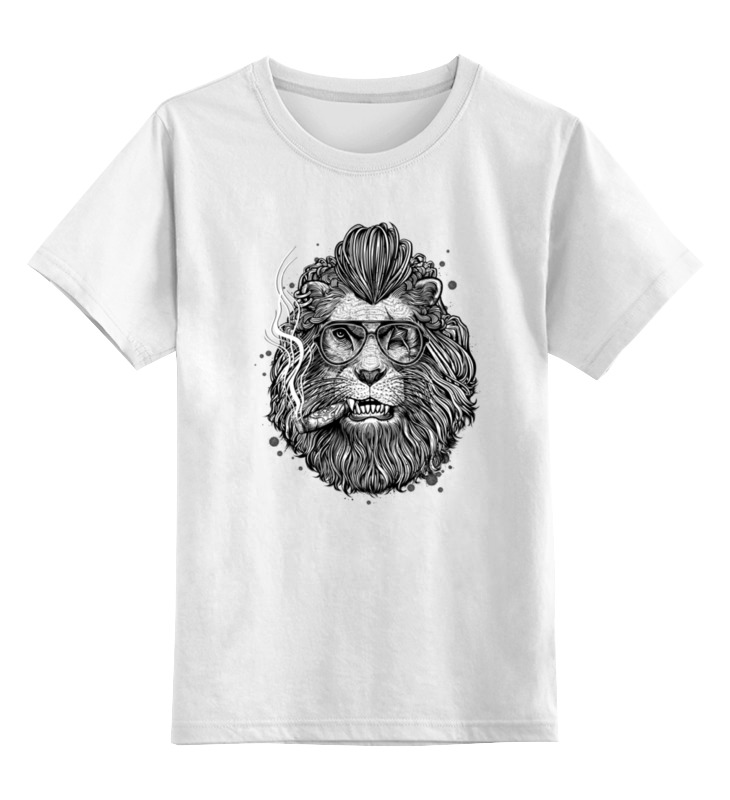 Детская футболка классическая унисекс Printio Лев с сигарой цена