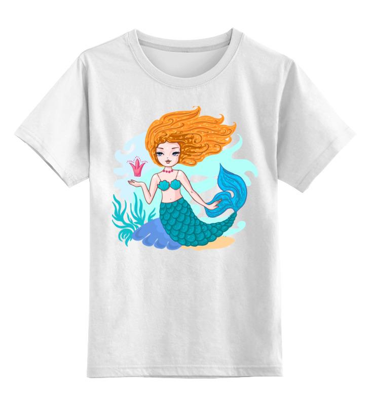 Детская футболка классическая унисекс Printio Русалочка с короной. мультяшный стиль