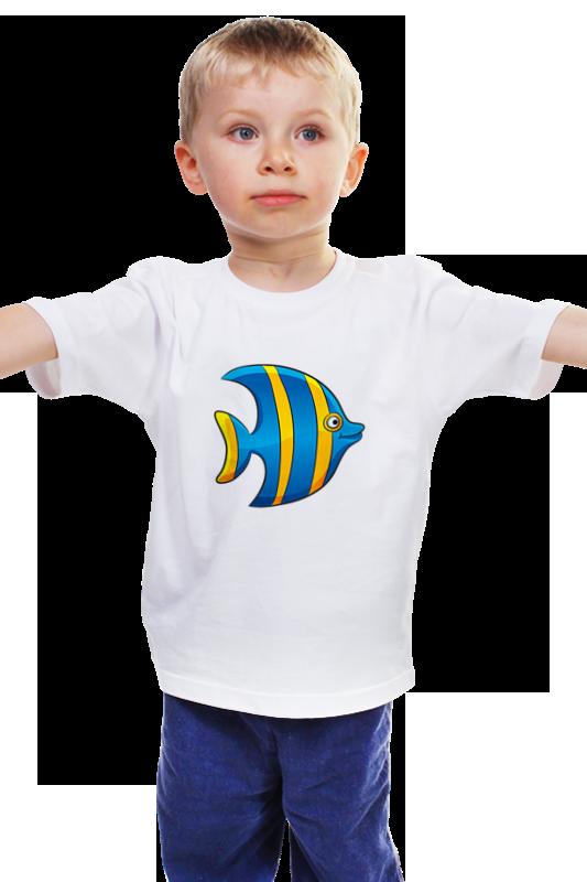 Детская футболка классическая унисекс Printio Желто-синяя морская рыбка детская футболка классическая унисекс printio рыбка 3