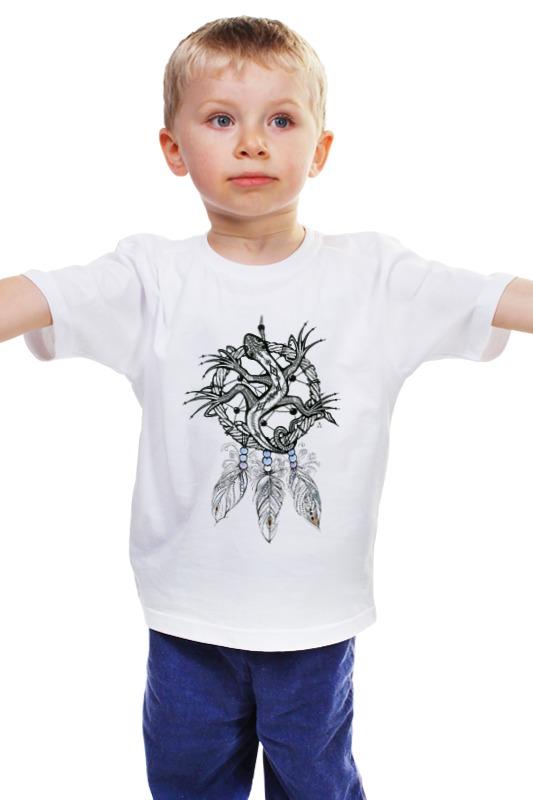 Детская футболка классическая унисекс Printio Ловец снов ящерка авторская графика слайд 40х30 автор сергей лоцманов