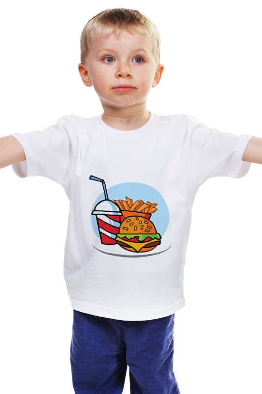 Детская футболка классическая унисекс Printio Фастфуд
