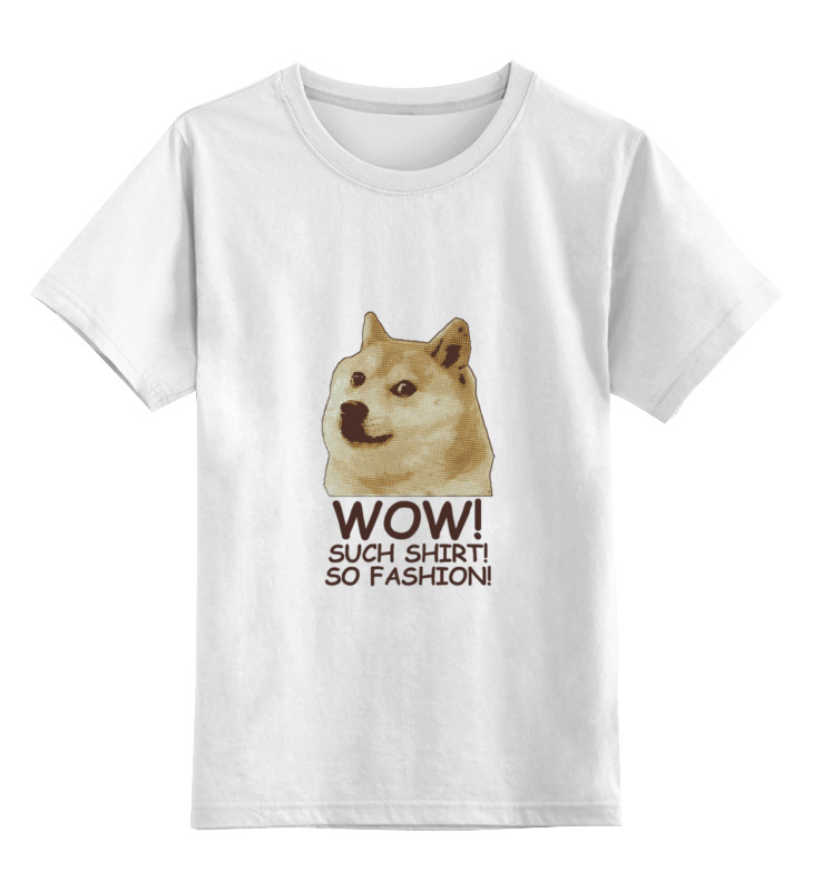 Детская футболка классическая унисекс Printio Doge wow such shirt so fashion large 45cm cartoon shiba inu dog gray beilika plush toy soft doll throw pillow birthday gift s0174
