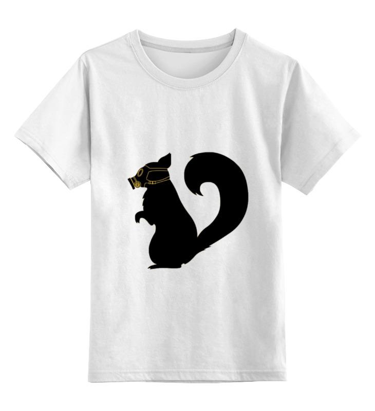 Детская футболка классическая унисекс Printio Белка в противогазе цена и фото