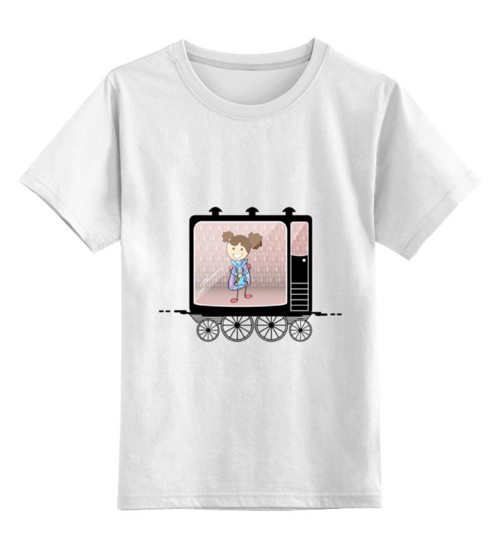 Детская футболка классическая унисекс Printio Девочка в вагоне поезда сигнал поезда