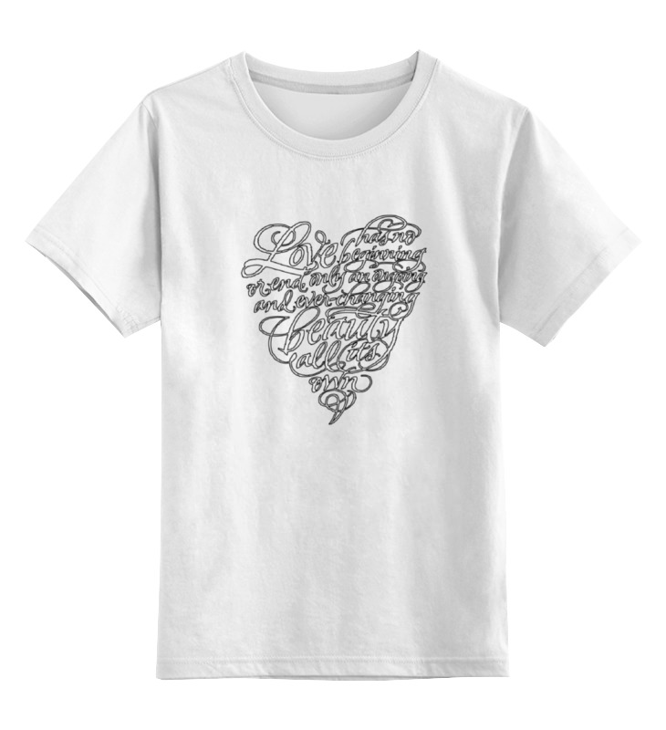 Детская футболка классическая унисекс Printio Love lettering (сердце с надписью) цена и фото