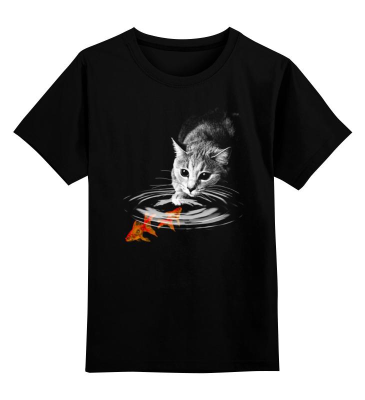 Детская футболка классическая унисекс Printio Кот и рыбки цена и фото