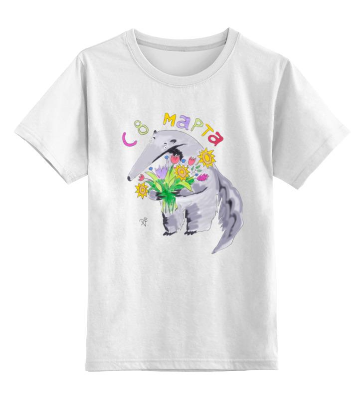Детская футболка классическая унисекс Printio Муравьед с цветами майка классическая printio муравьед с цветами