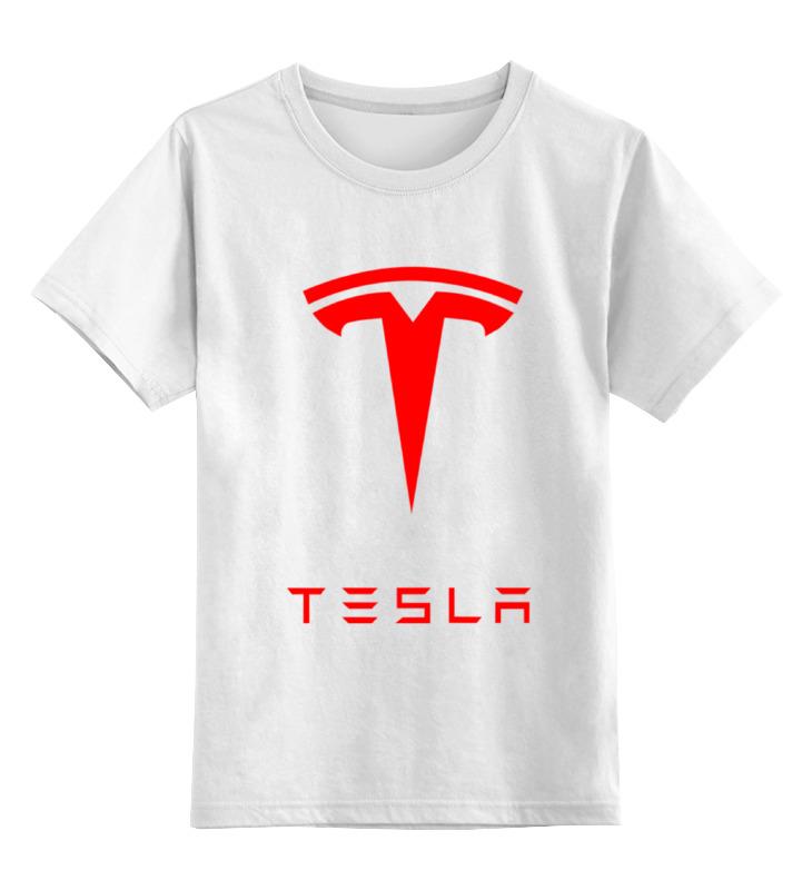 Детская футболка классическая унисекс Printio Тесла моторс цена и фото