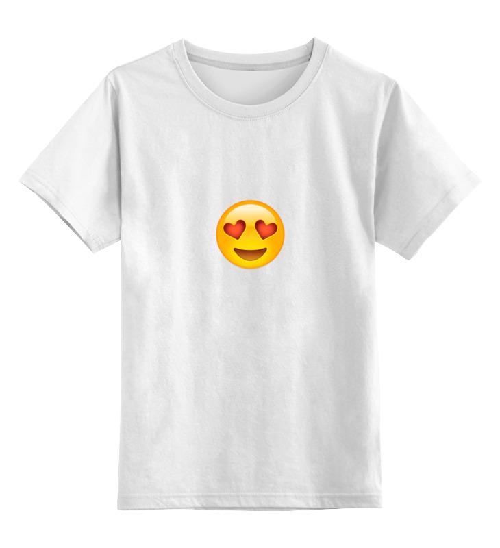 Детская футболка классическая унисекс Printio Влюбленный смайлик цена