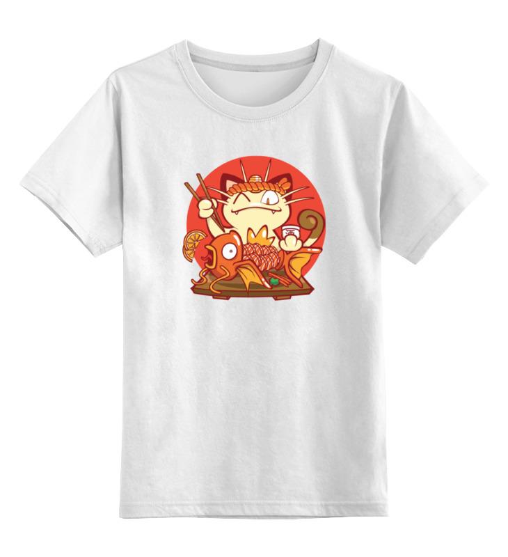 Детская футболка классическая унисекс Printio Кот и золотая рыбка сумка printio кот и золотая рыбка
