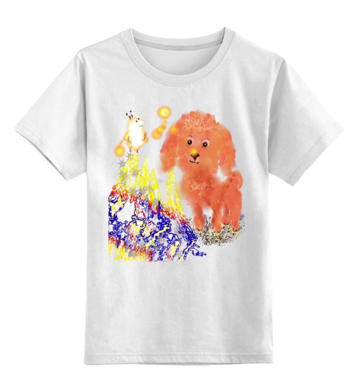 Детская футболка классическая унисекс Printio Персиковый пудель и светлячки