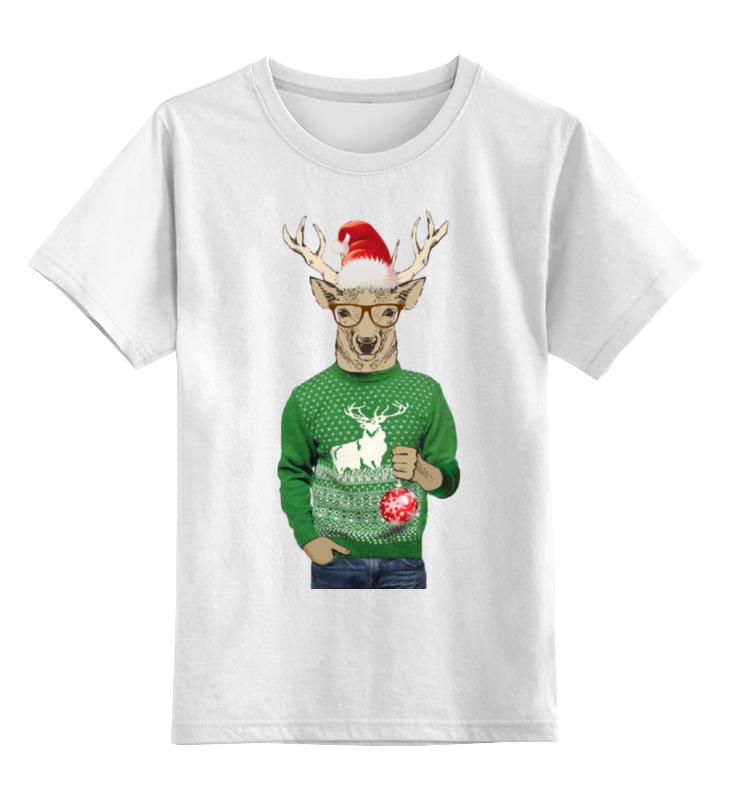 Детская футболка классическая унисекс Printio Олень новогодний в свитере и очках с шариком толстовка wearcraft premium унисекс printio с олень новогодний в свитере