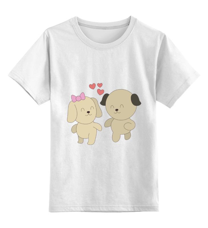Детская футболка классическая унисекс Printio Влюблённые собачки цена и фото
