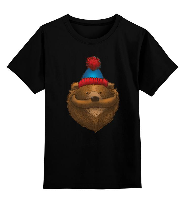 Детская футболка классическая унисекс Printio Медведь с усами