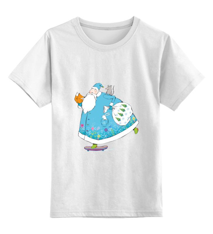 Детская футболка классическая унисекс Printio Дед мороз на скейте
