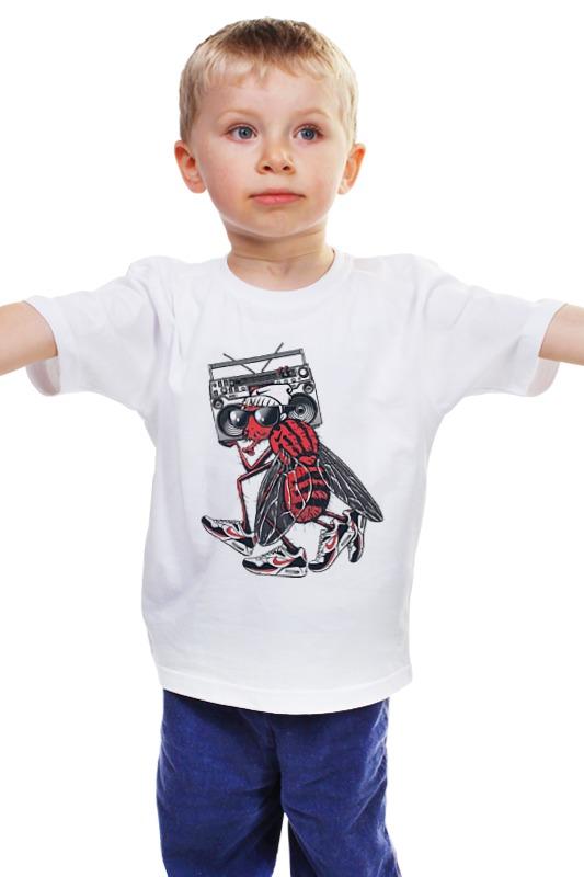 Детская футболка классическая унисекс Printio Муха в кроссовках чехол для муха iq446 кожа iq446 роскошь полиуретан открытая вверх и пуховик черный белый розовый цвет